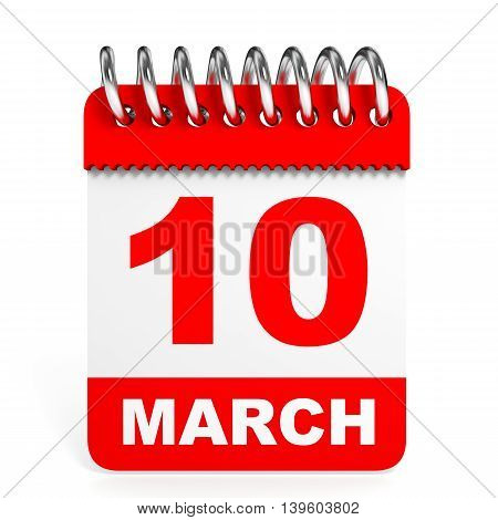 Calendar On White Background. 10 March.