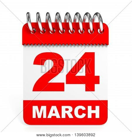 Calendar On White Background. 24 March.