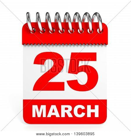 Calendar On White Background. 25 March.