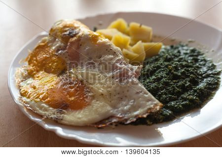 Spinach with egg omelette and potatoes on white plate