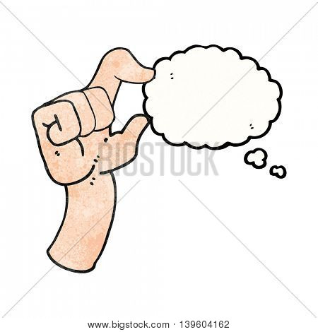 freehand drawn thought bubble textured cartoon hand making smallness gesture