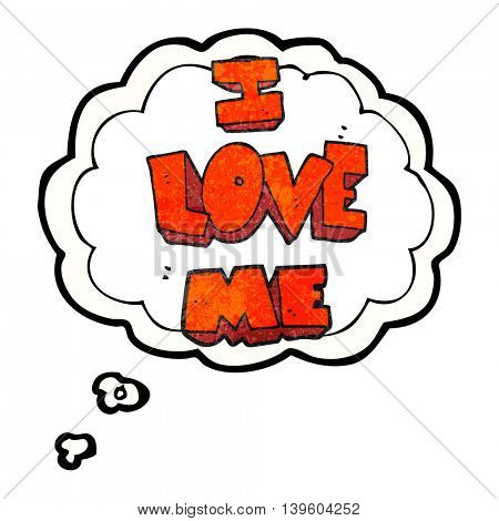 i love me freehand drawn thought bubble textured cartoon symbol