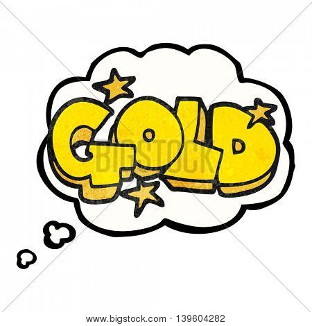 freehand drawn thought bubble textured cartoon word gold