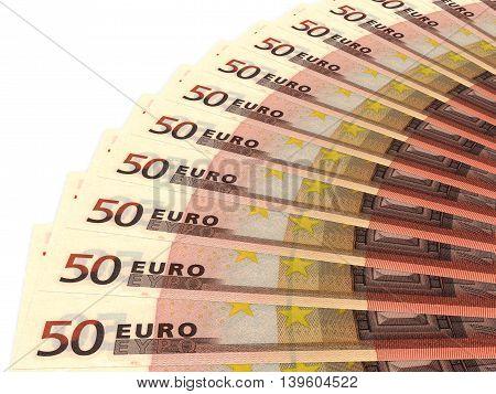 Money fan on white background. Fifty euros. 3D illustration.