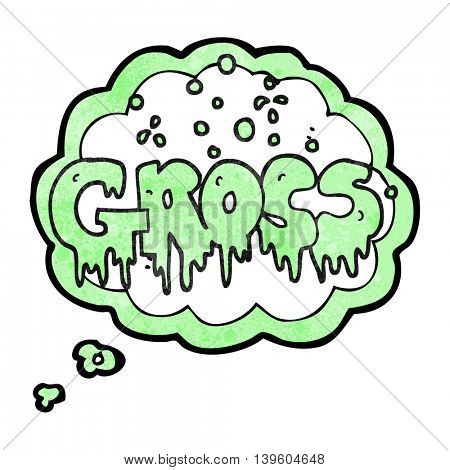 freehand drawn thought bubble textured cartoon word gross