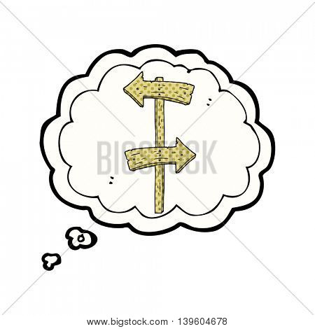 freehand drawn thought bubble cartoon wooden direction sign