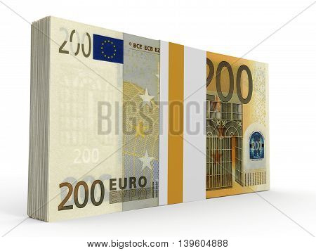 Pack Of Banknotes. Two Hundred Euros.