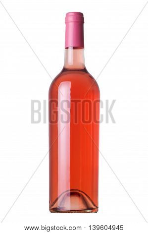 Rose wine bottle without label and pink cap isolated on white background.