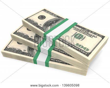 Stacks Of Money. One Hundred Dollars.