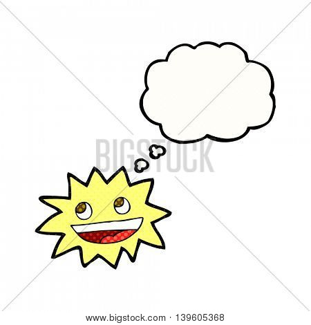 freehand drawn thought bubble cartoon star with face