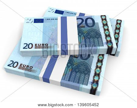 Twenty euro banknotes on white background. 3D illustration.