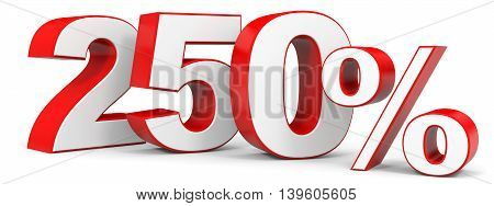Discount 250 percent on white background. 3D illustration.