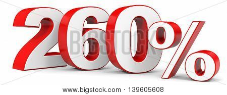 Discount 260 percent on white background. 3D illustration.