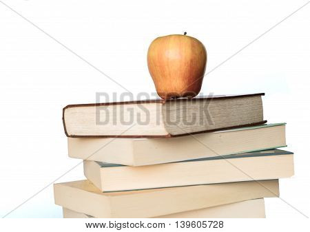 pile of books on the white background