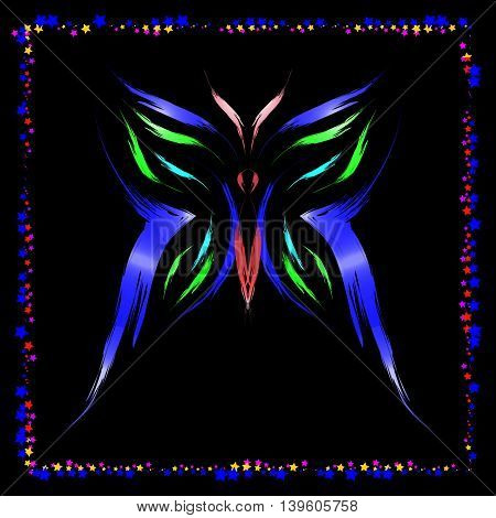 Neon Butterfly. Butterfly of colored strokes on a black background in a frame of the stars