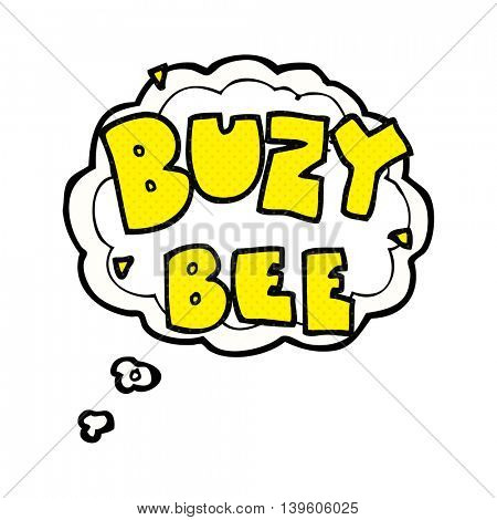 freehand drawn thought bubble cartoon buzy bee text symbol