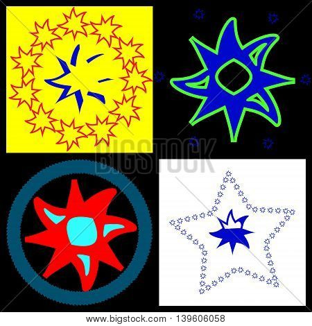 Rounded stars. Several versions of the logo with a rounded stars