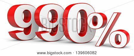 Discount 990 percent on white background. 3D illustration.