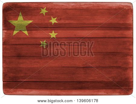 horizontal front view 3d illustration of an China flag on wooden cooking textured board