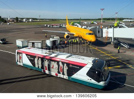 Moscow, Russia - June 01, 2016, Daily activities of various services at the airfield of Domodedovo airport
