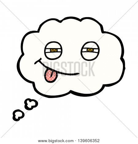 freehand drawn thought bubble cartoon suspicious eyes