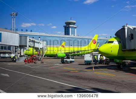 Moscow, Russia - June 01, 2016, Aircraft S7 Airlines at Domodedovo airport passenger terminal