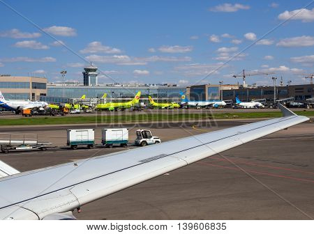 Moscow, Russia - June 01, 2016, A view of the airfield and the construction of the airport Domodedovo with ladder