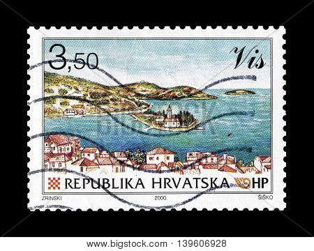 CROATIA - CIRCA 2000 : Cancelled postage stamp printed by Croatia, that shows Vis.