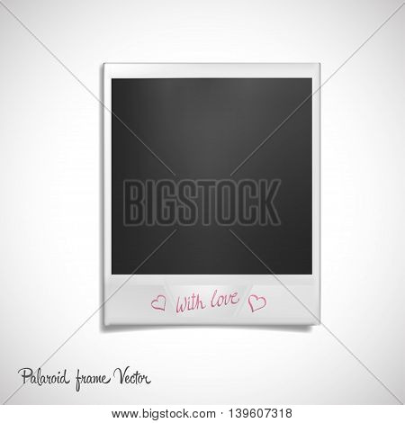 Polaroid frame on white background. Isolated photo template with signature and shadow effect. Vector illustration