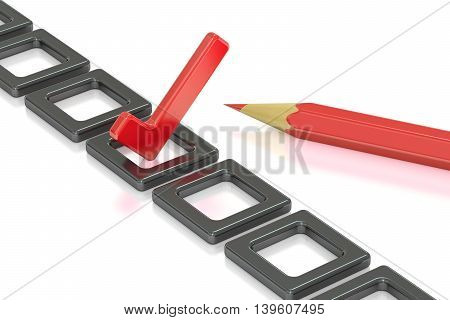 Checklist and pencil 3D rendering isolated on white background