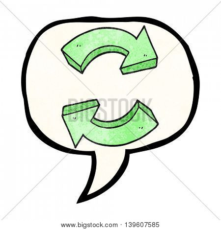 freehand drawn texture speech bubble cartoon recycling arrows