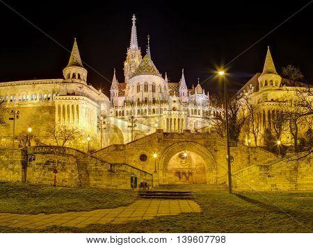 Fisherman's bastion and Matthias Church night view, Budapest, Hungary