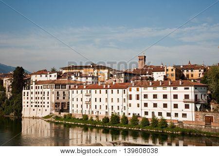 view of the romantic village Basano del Grappa over the river Brenta