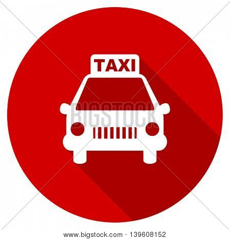 taxi red vector icon, circle flat design internet button, web and mobile app illustration