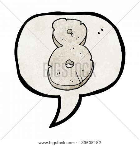 freehand speech bubble textured cartoon stone number eight