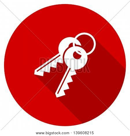 keys red vector icon, circle flat design internet button, web and mobile app illustration