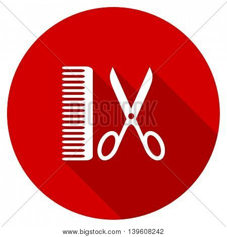 barber red vector icon, circle flat design internet button, web and mobile app illustration