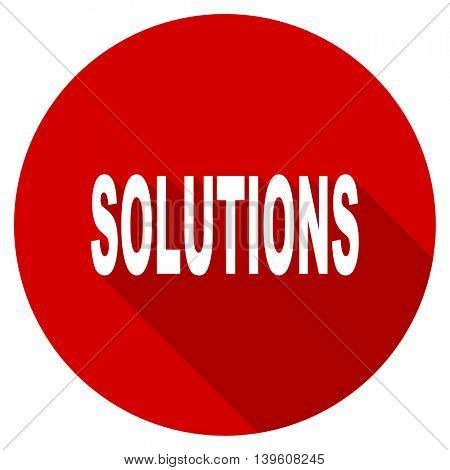 solutions red vector icon, circle flat design internet button, web and mobile app illustration