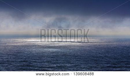 Beautiful Sea With Dark Deep Clouds In Sunset