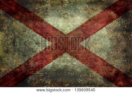 State flag of Alabama with grungy distressed textures.