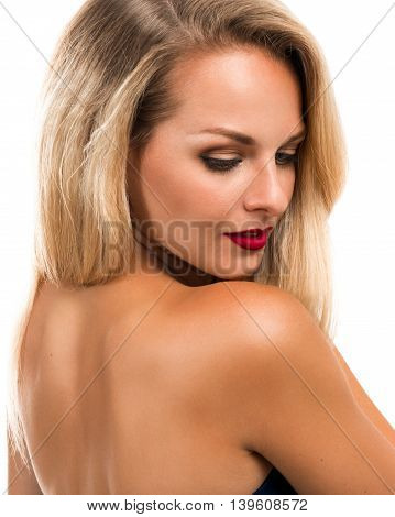 Portrait of a beautiful young blonde woman closeup
