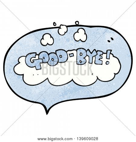 freehand speech bubble textured cartoon good-bye symbol