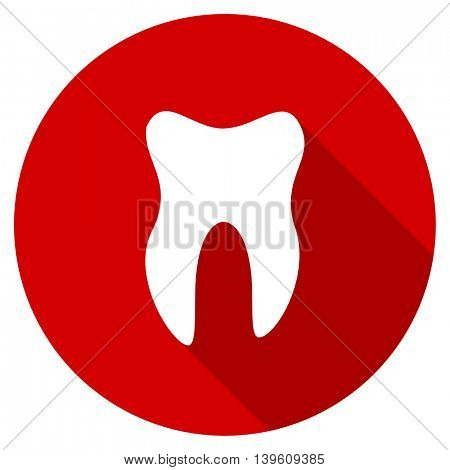 tooth red vector icon, circle flat design internet button, web and mobile app illustration