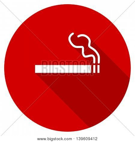 cigarette red vector icon, circle flat design internet button, web and mobile app illustration