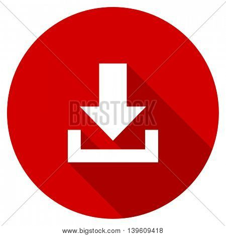 download red vector icon, circle flat design internet button, web and mobile app illustration