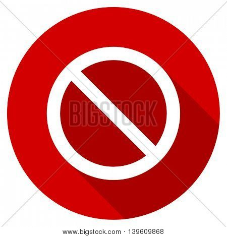 access denied red vector icon, circle flat design internet button, web and mobile app illustration
