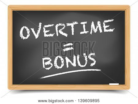 detailed illustration of a blackboard with Overtime Bonus sketch, eps10 vector, gradient mesh included