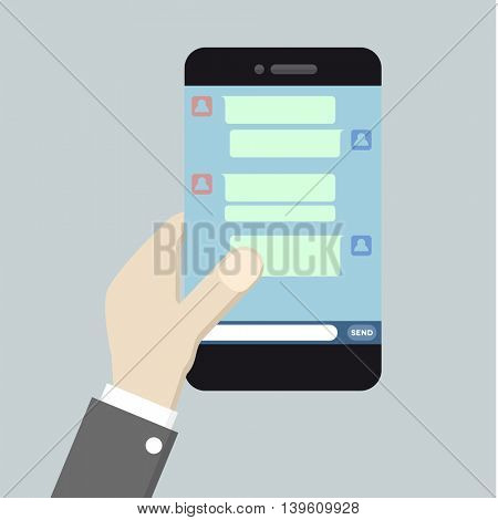 minimalistic illustration of a smartphone with running messaging application, eps10 vector