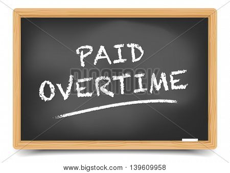 detailed illustration of a blackboard with Paid Overtime text, eps10 vector, gradient mesh included