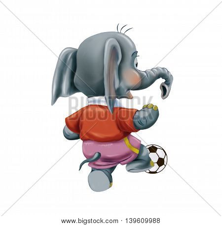 Baby elephant with soccer ball isolated on white background